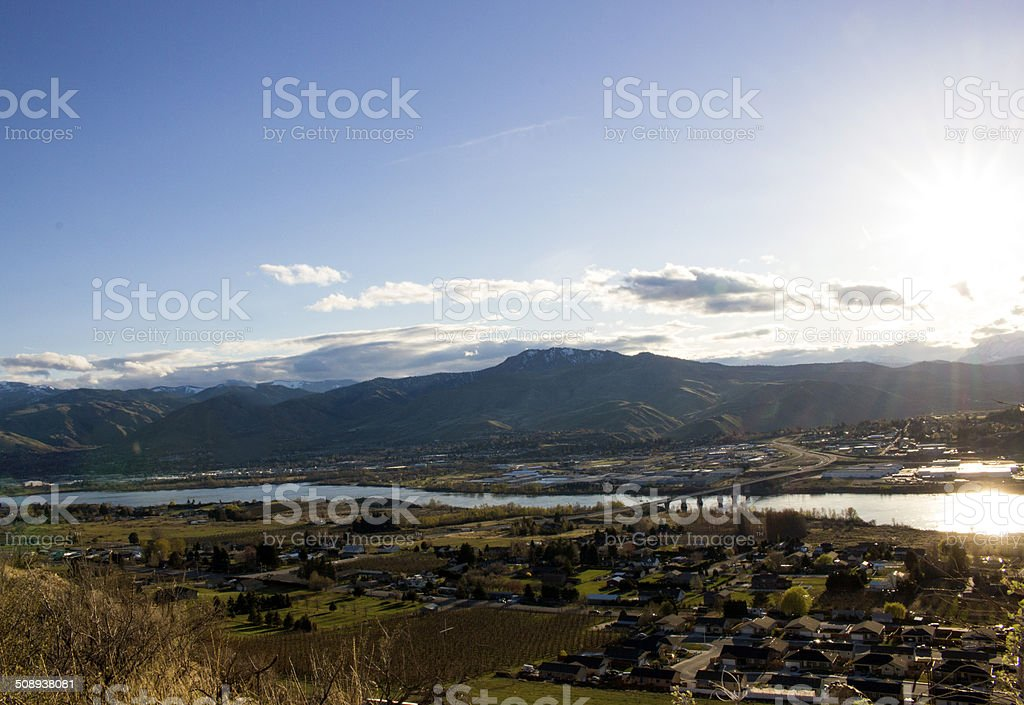 Wenatchee Valley North End at sunset stock photo