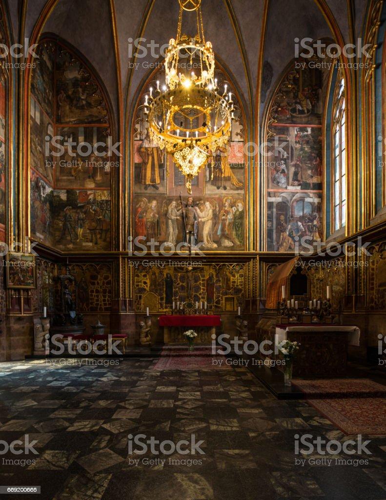 Wenceslas Chapel of Parler, 1344-64, St Vitus Cathedral, Prague, Czech Republic stock photo