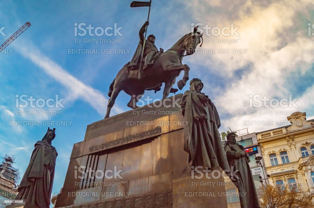 Wenceslas monument on Wenceslas Square in dawn. stock photo