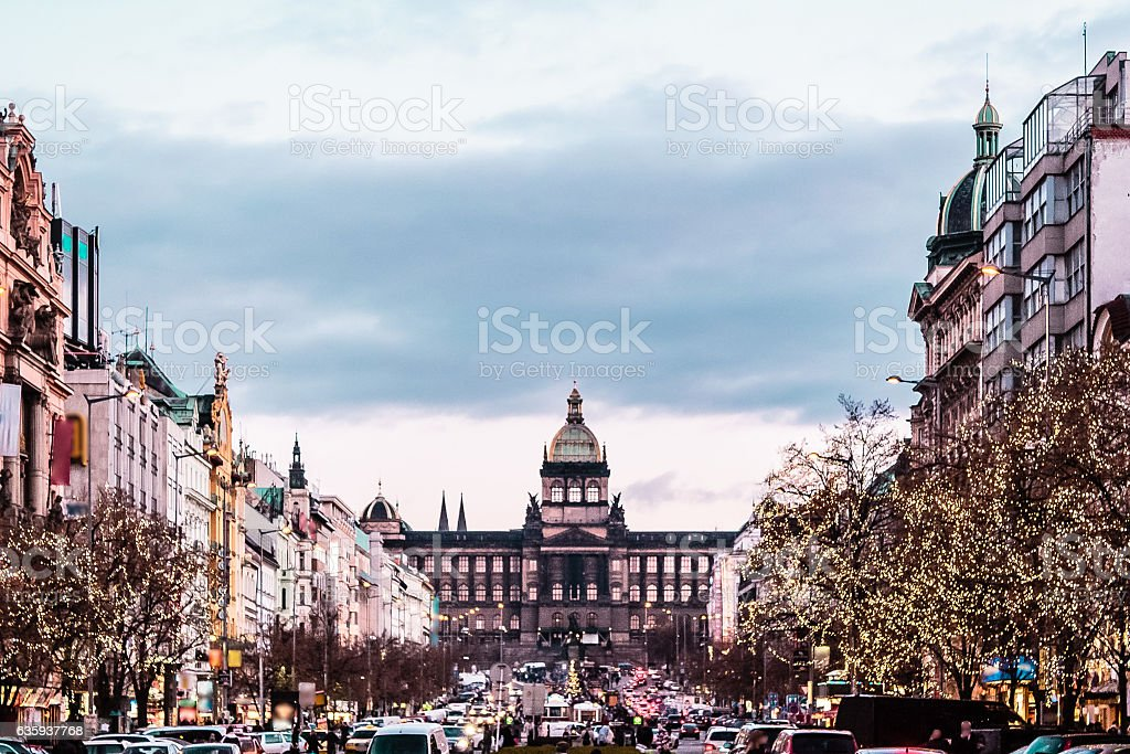 Wenceslas Square at Prague, Czech Republic stock photo