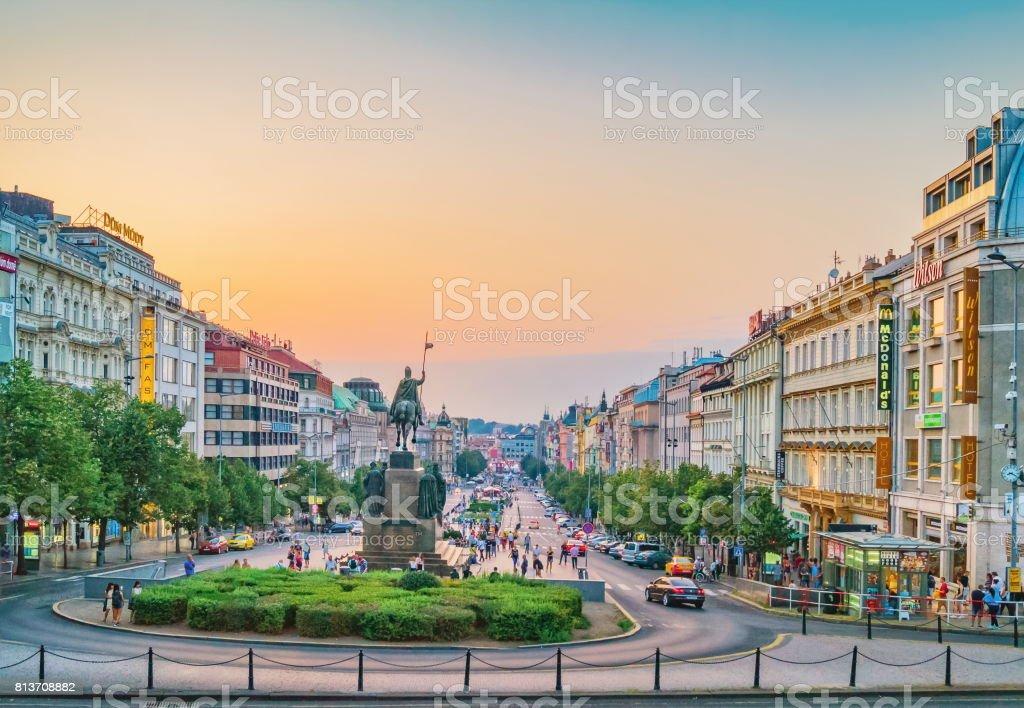 Wenceslas Square, evening view. Prague, Czech Republic stock photo