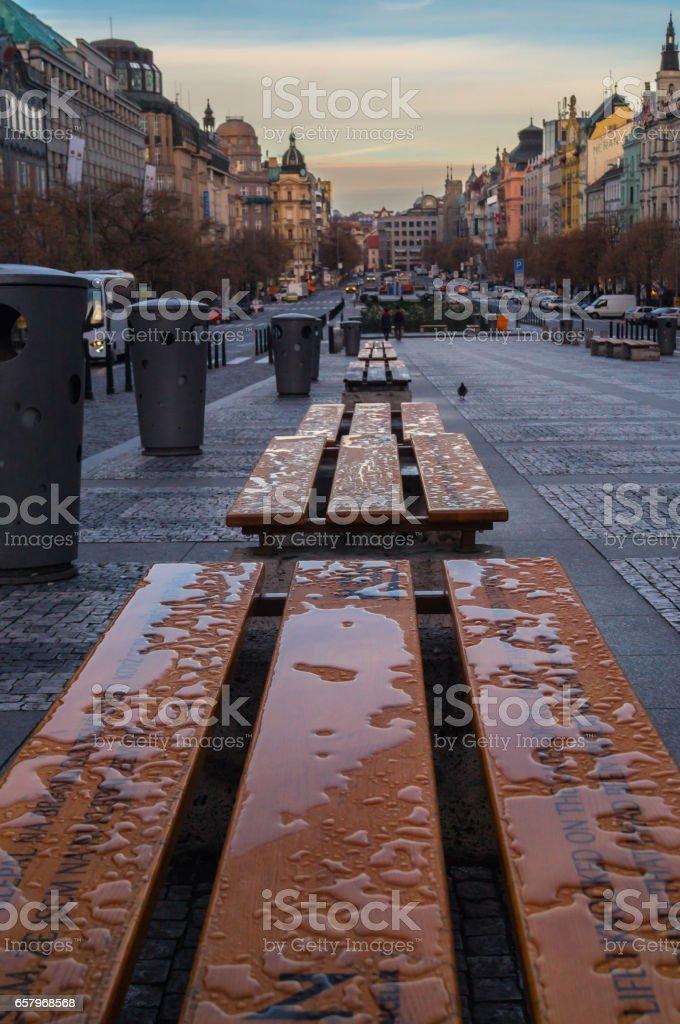 Wenceslas Square in dawn. Czech Republic stock photo
