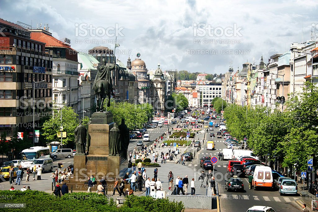 Wenceslas Square in Prague, Czech stock photo