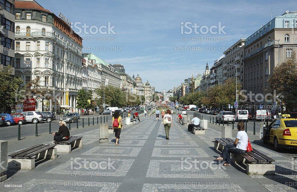 Wenceslas Square in Prague, Czech Republic royalty-free stock photo