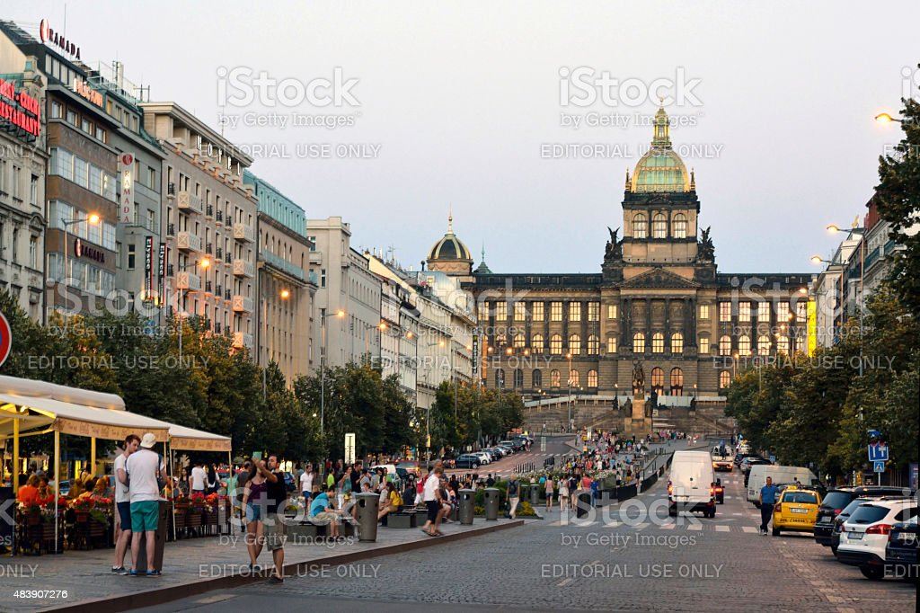 Wenceslas Square in Prague - Czech Republic stock photo