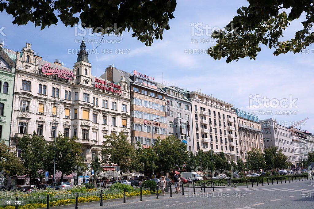 Wenceslas Square in Prague, Czech Republic stock photo