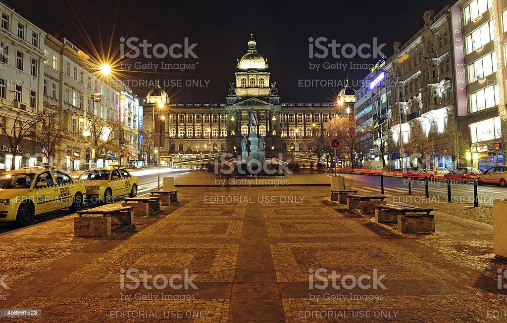 Wenceslas square in Prague. stock photo