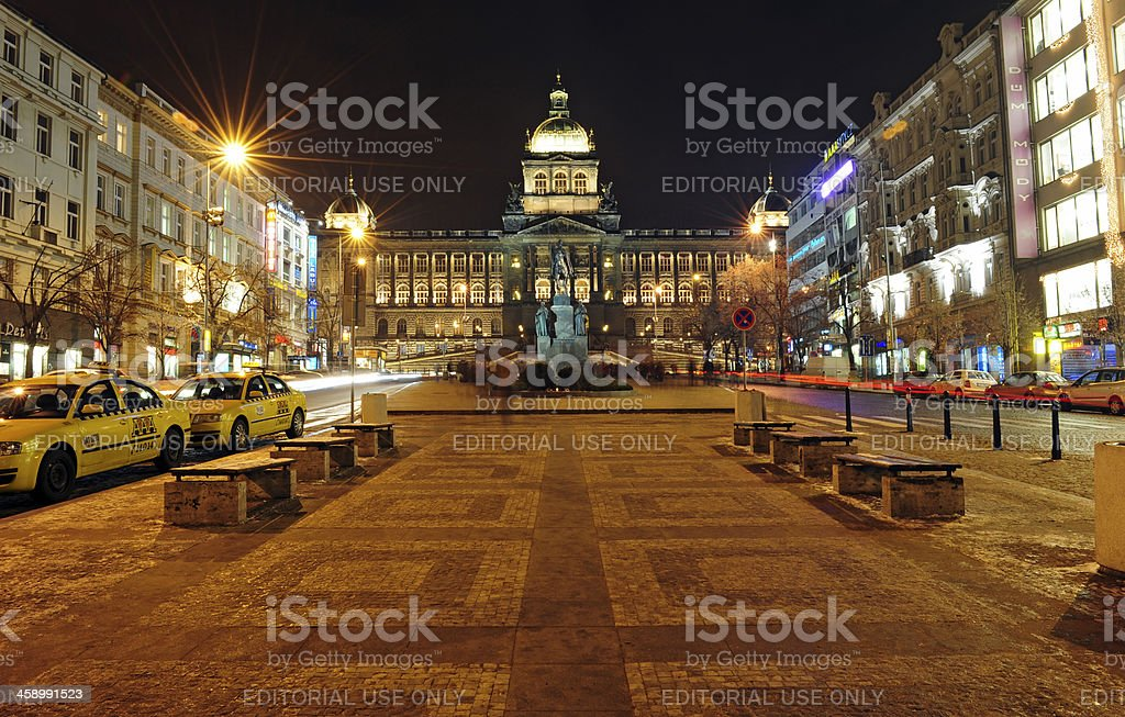 Wenceslas square in Prague. stock photo