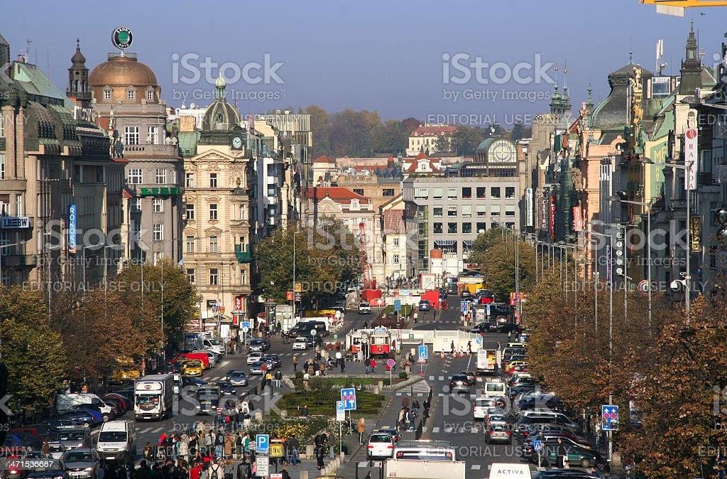Wenceslas Square in Prague stock photo