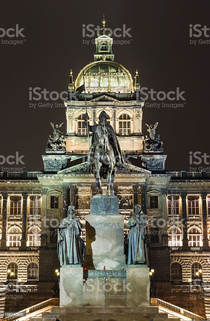Wenceslav Square and National Museum, Prague stock photo