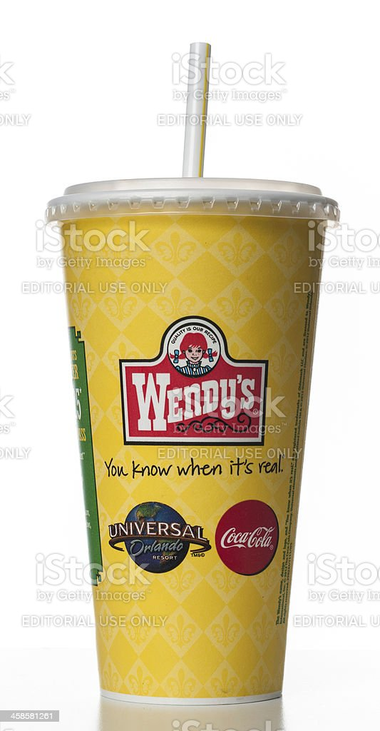 Wendy's soda cup stock photo