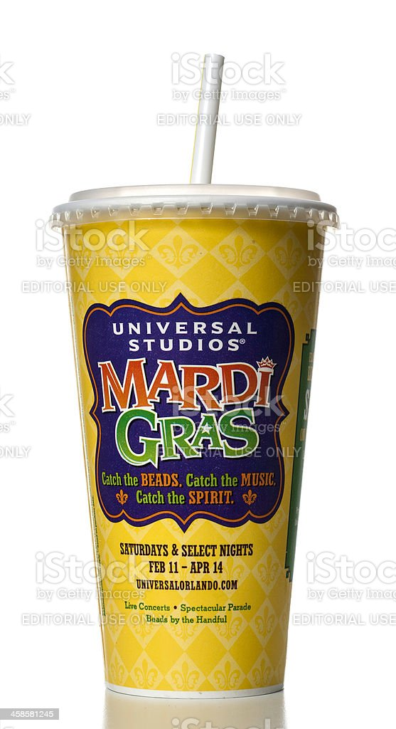 Wendy's soda cup with Universal Studios Mardi Gras promotion stock photo