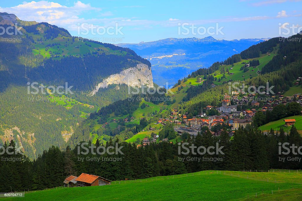 Wengen Alpine village idyllic Landscape: woodland and meadows, Swiss Alps stock photo