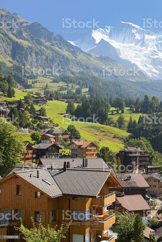 Wengen and mountains stock photo