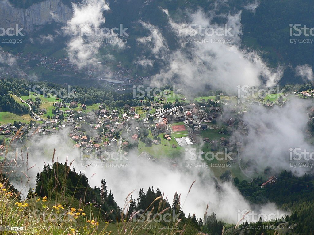 Wengen in the clouds stock photo
