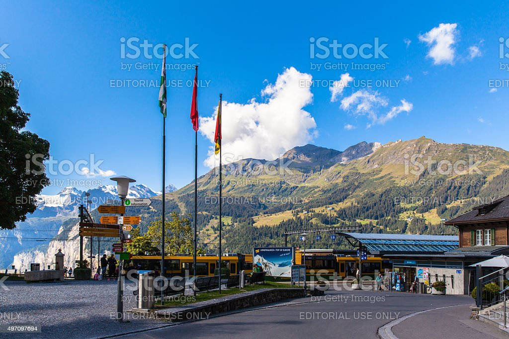 Wengen on Bernese Oberland stock photo