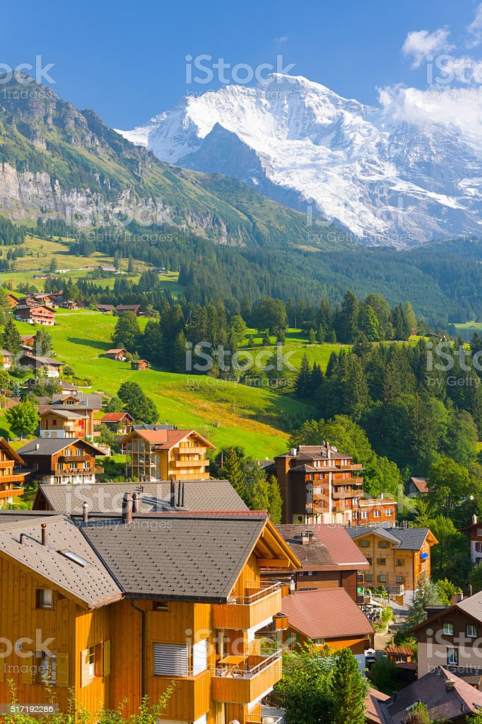 Wengen village in Alps stock photo