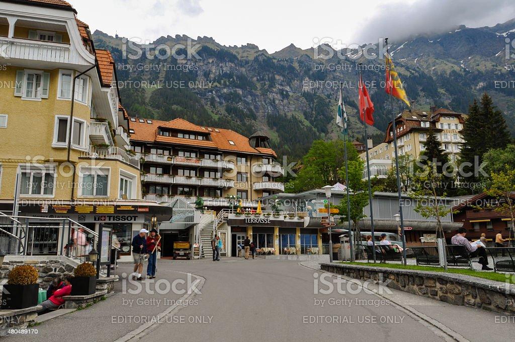 Wengen Village in Swiss Alps stock photo