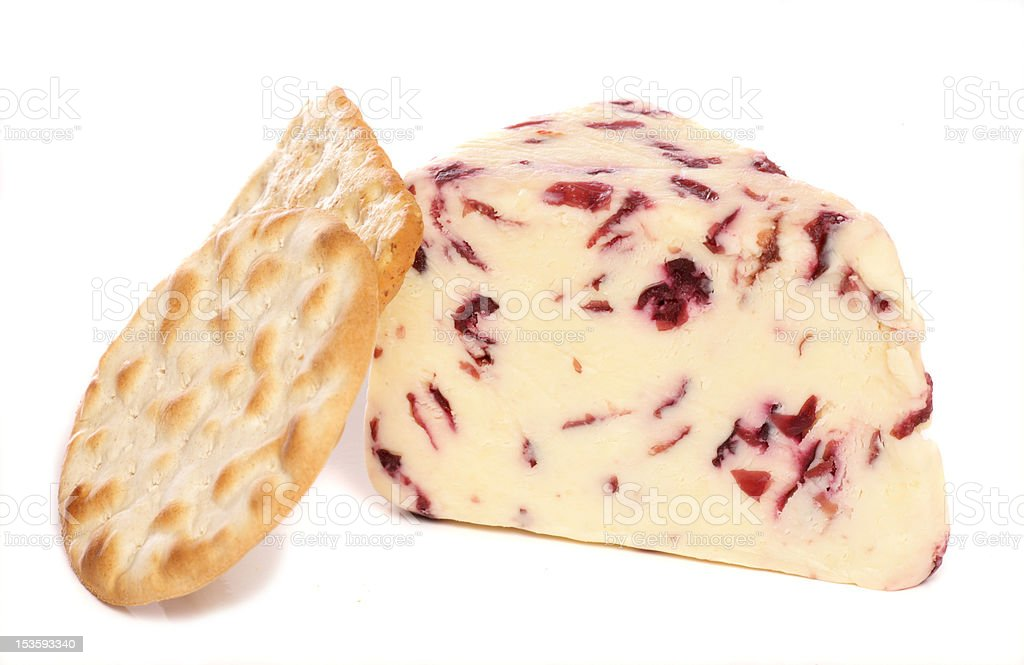 Wensleydale and Cranberry cheese with biscuits stock photo