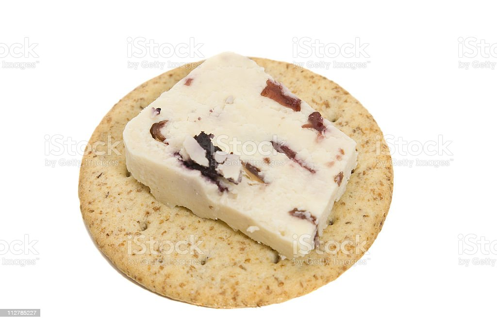 Wensleydale Cheese on a Cracker stock photo