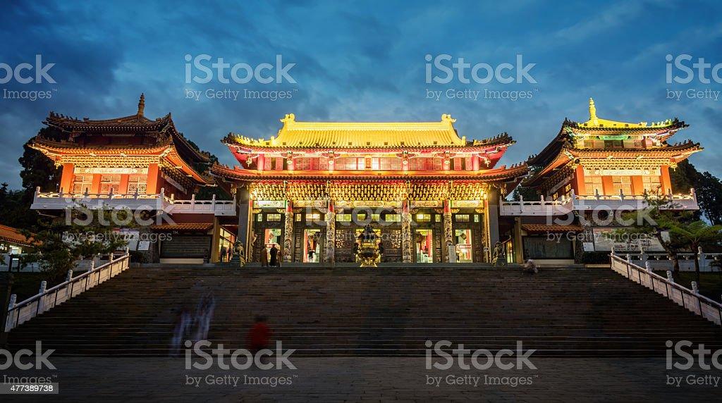 Wenwu Temple during Night at Sun Moon Lake in Taiwan stock photo