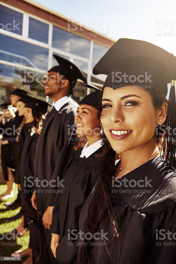 We're all proud of our achievement stock photo