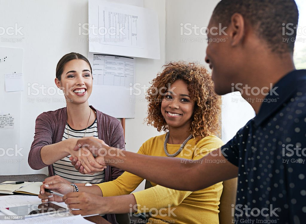 We're eager to see what you can offer our business stock photo