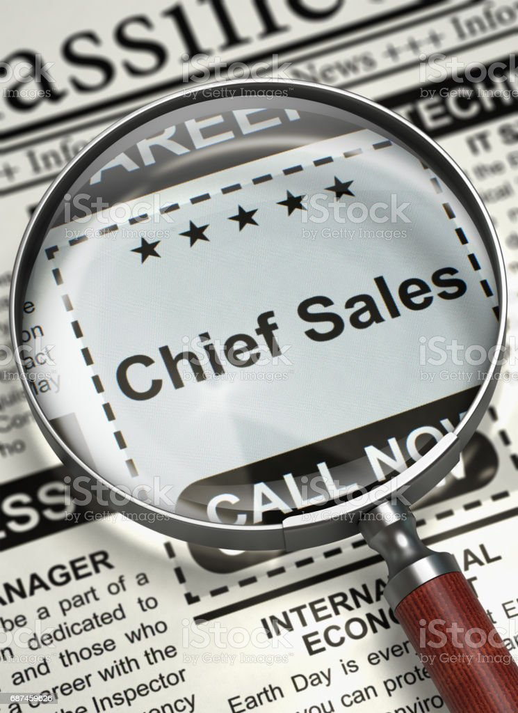 We're Hiring Chief Sales. 3D stock photo