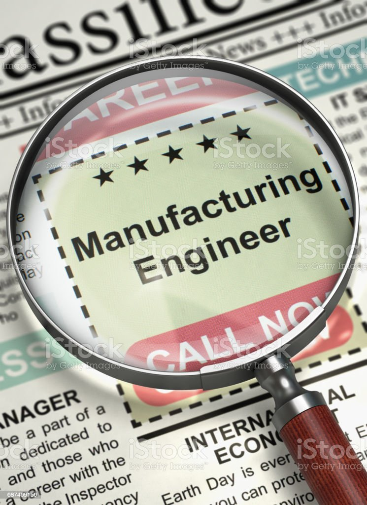 We're Hiring Manufacturing Engineer. 3D stock photo