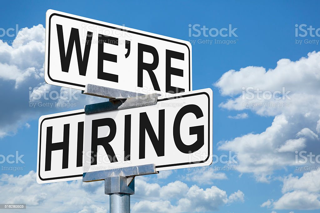 We're Hiring Street Sign stock photo