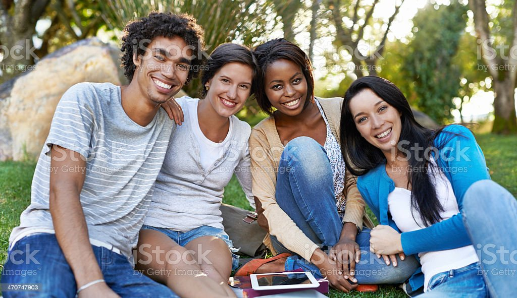 We're loving every minute of college! stock photo