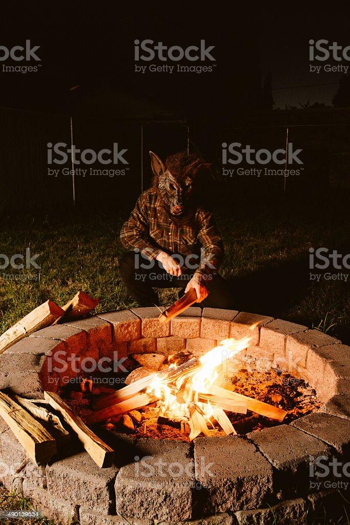 Werewolf Man Building Camp Fire stock photo