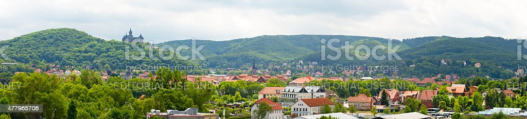 Wernigerode panorama with Castle on top of the hill stock photo