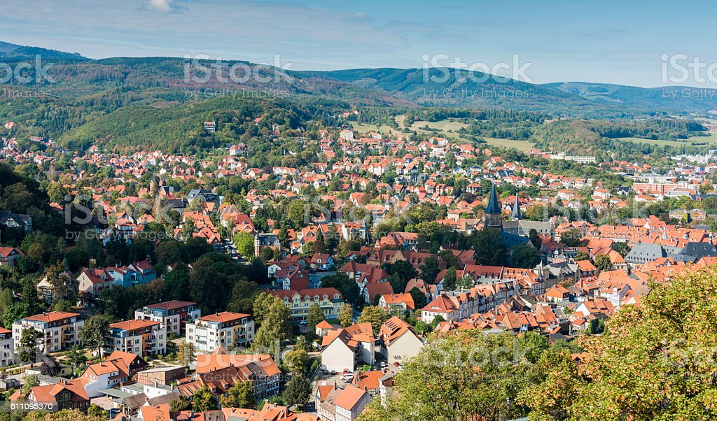 wernigerode with the hills in harz skyline stock photo
