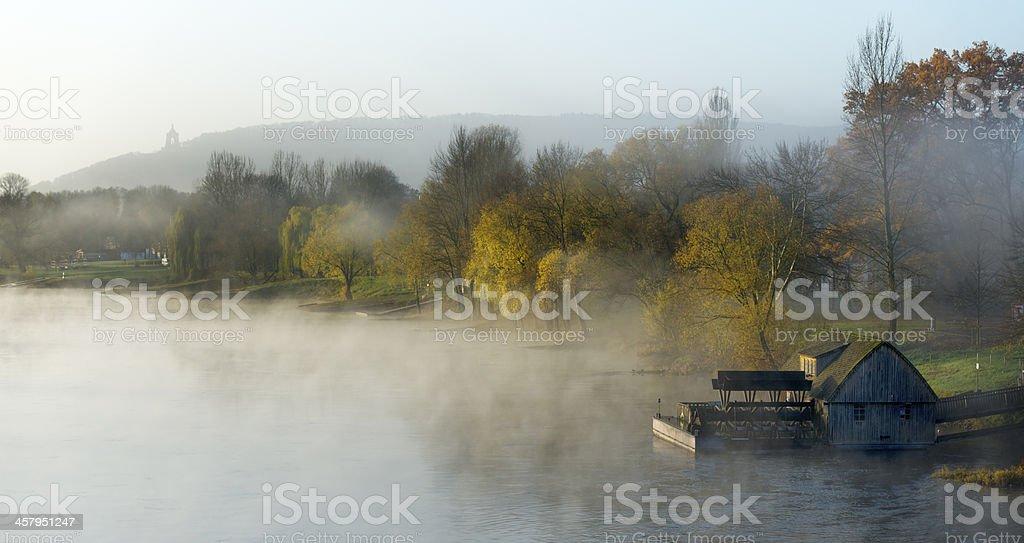 Weser river with Kaiser Wilhelm memorial and Porta Westfalica stock photo