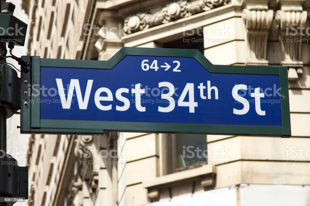 West 34th Street Sign in New York City stock photo