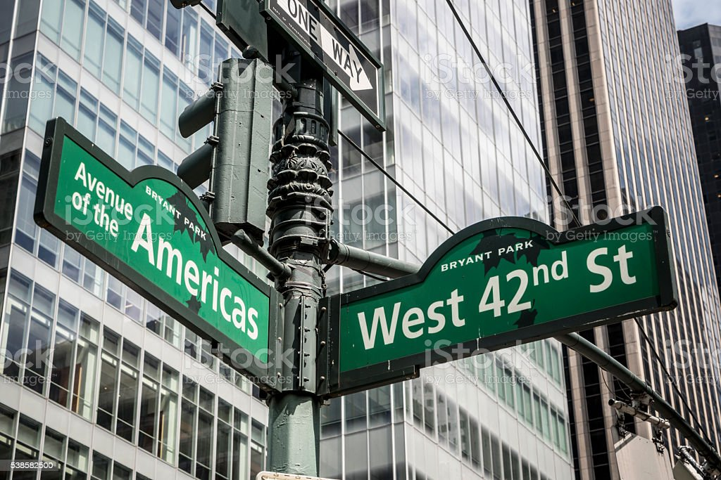 West 42nd Street & Avenue Of the Americas stock photo
