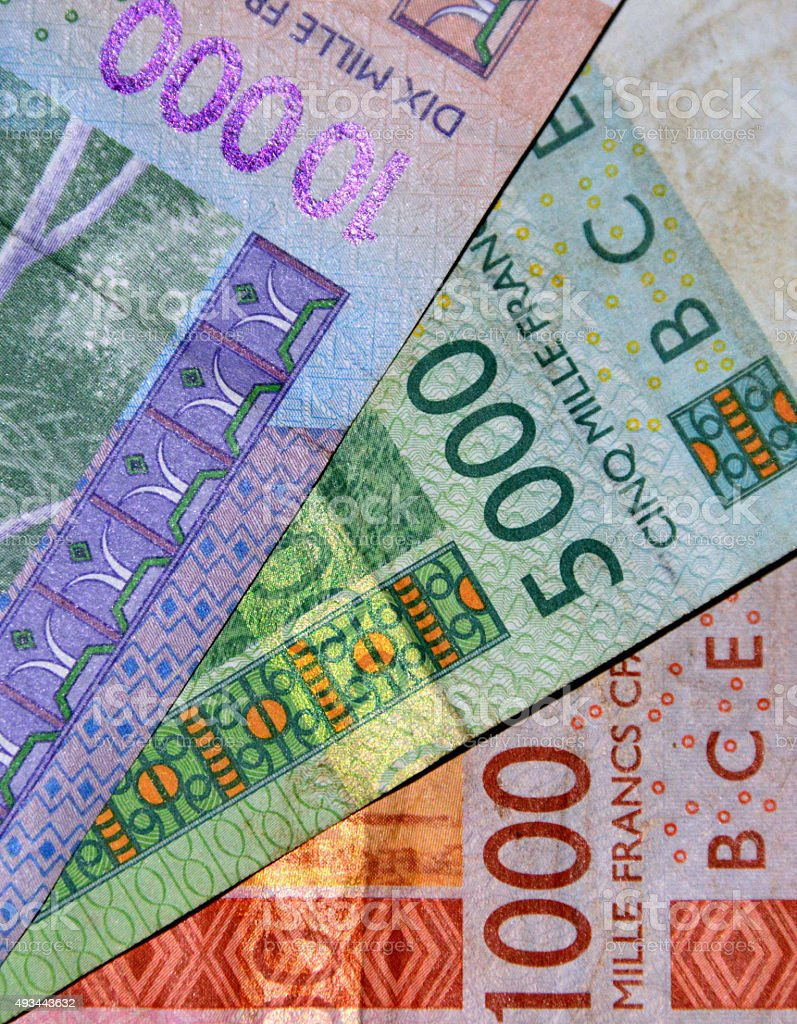 West African CFA franc bank notes stock photo
