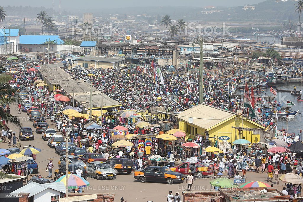 Overcrowded market and port in West Africa.