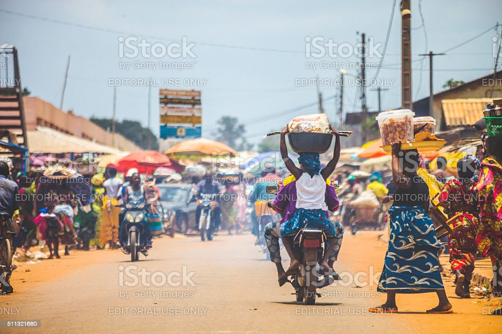 West African market scene. stock photo