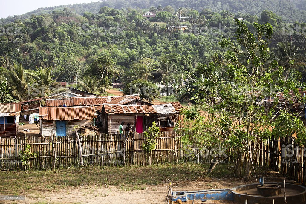 West African Village on a Hill stock photo