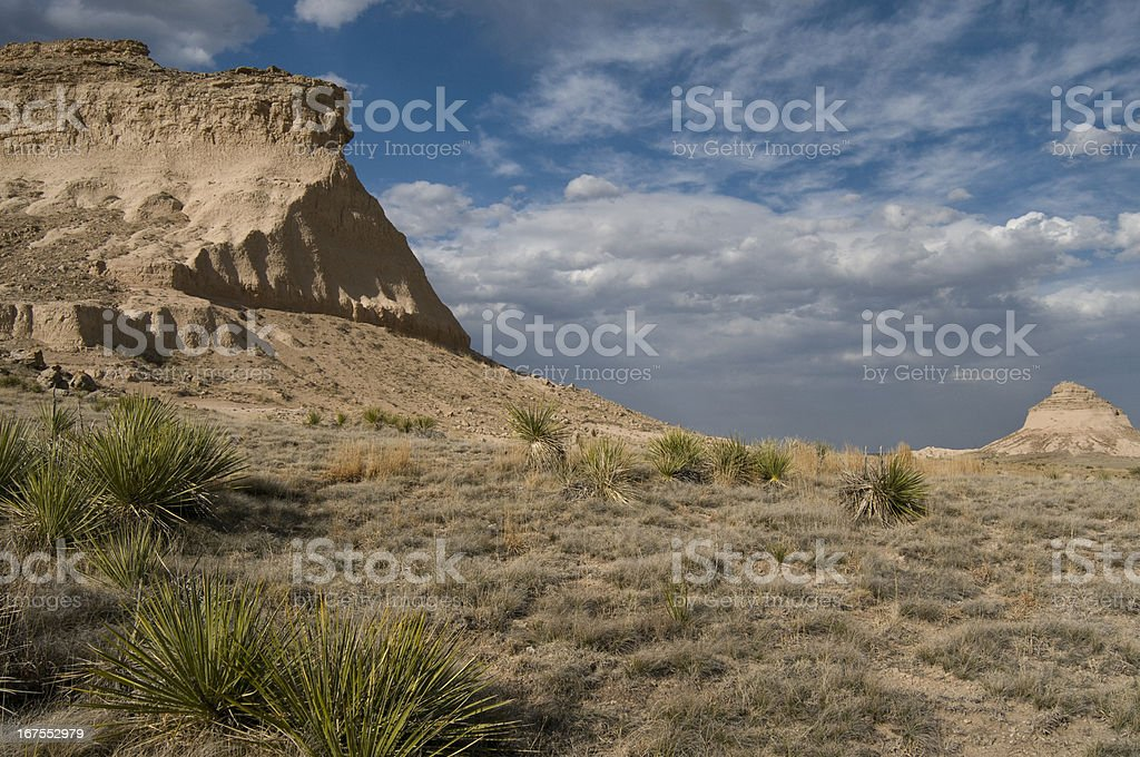 West and East  Pawnee Butte in Northeastern Colorado royalty-free stock photo