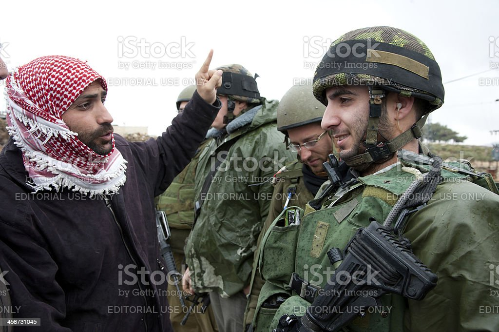 West Bank Palestinians protest Israeli separation wall stock photo