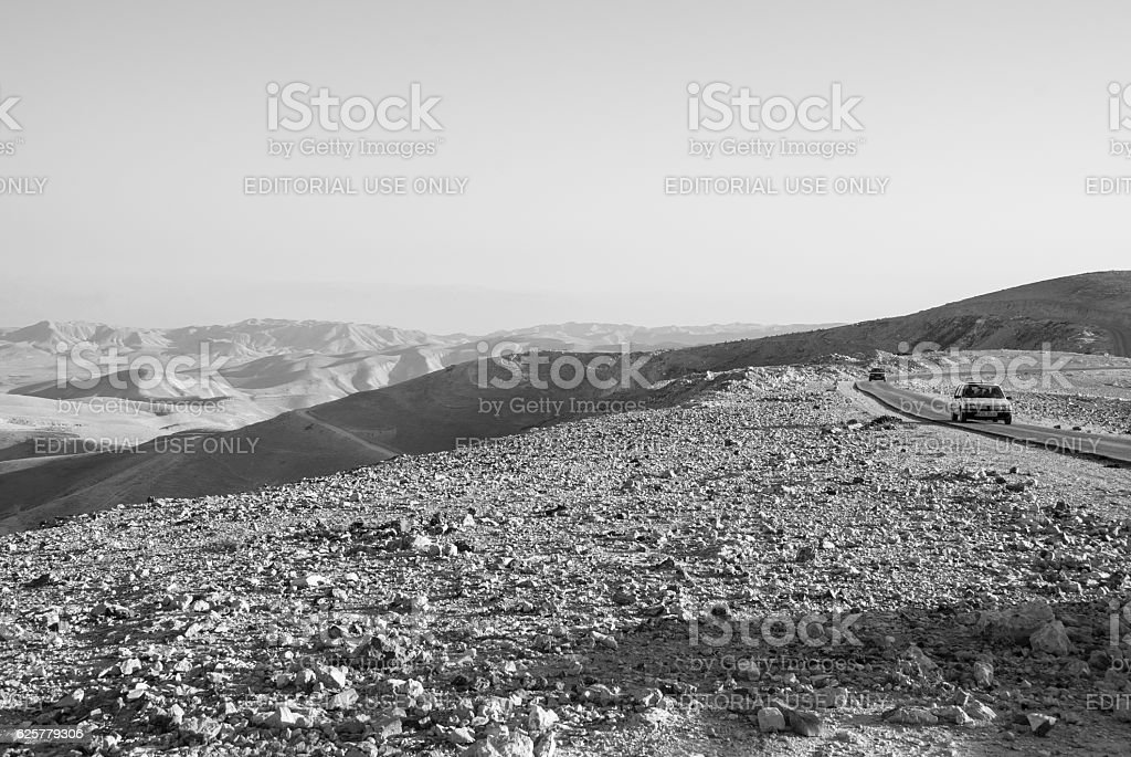 West Bank road and landscape east of Bethlehem stock photo