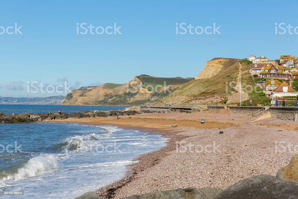 West Bay Dorset beach and coastal view to Golden Cap stock photo