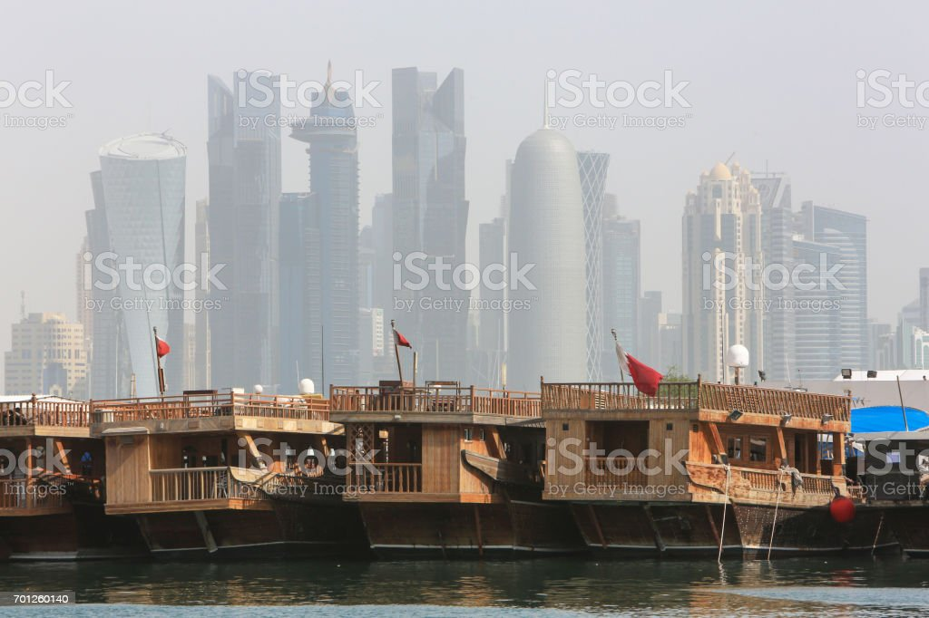 West Bay skyscrapers from the dhow port, Doha, Qatar stock photo