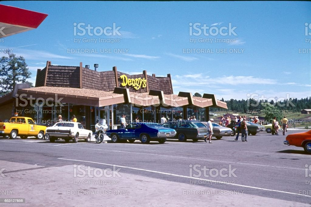 West coast, fast food restaurant on a highway, 1977 stock photo