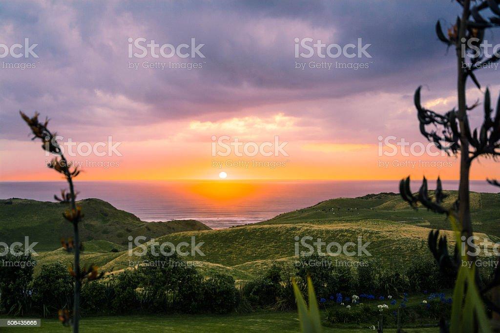 West Coast Sunset NZ stock photo