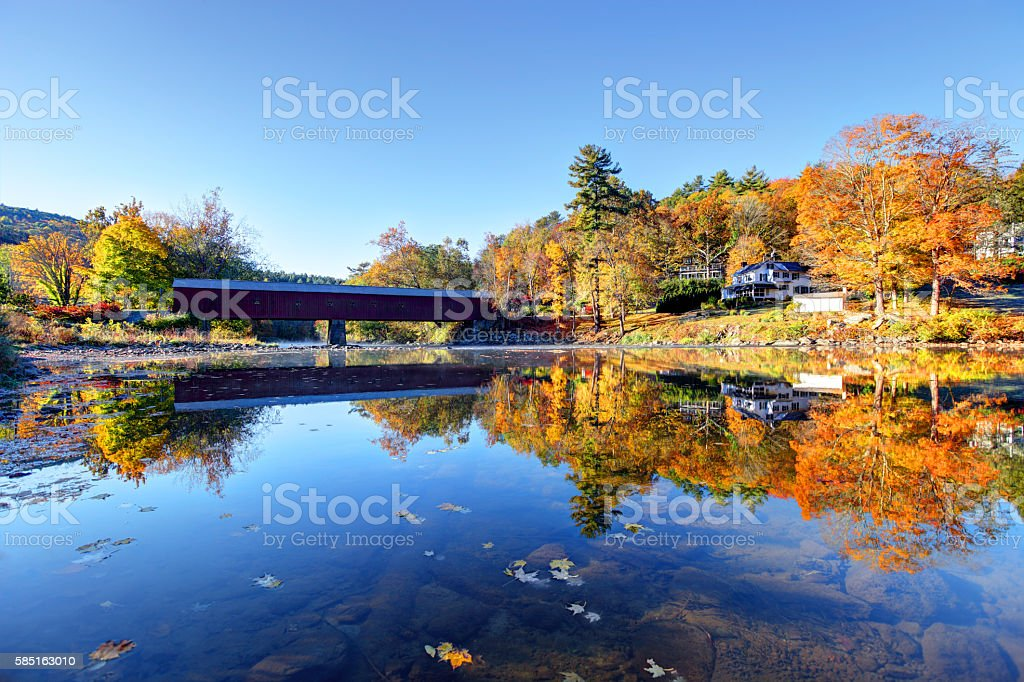 West Cornwall Bridge in the Litchfield Hills of Connecticut stock photo