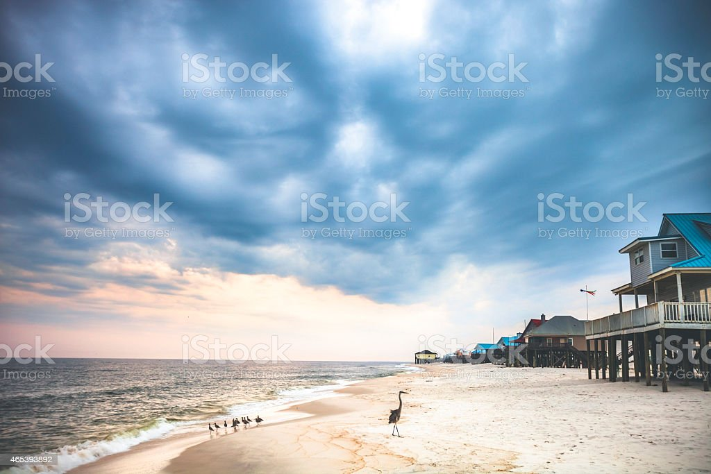 West End Beach, Dauphin Island. stock photo